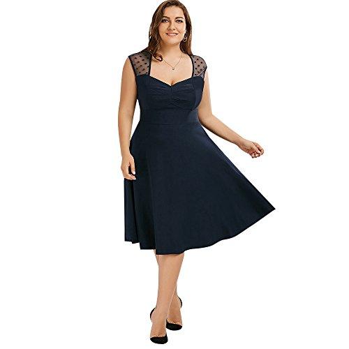 CharMma Damen Vintage Plus Size Ärmellos Polka Dot Mesh Kleid (2XL, Purplish (Polka Dot Size Plus Kleid)