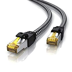 CSL - 5m Cat 7 Netzwerkkabel Gigabit Ethernet LAN Kabel - Baumwollmantel - 10000 Mbit S - Patchkabel - Cat.7 Rohkabel S FTP Pimf Schirmung mit RJ 45 Stecker - Switch Router Modem Access Point