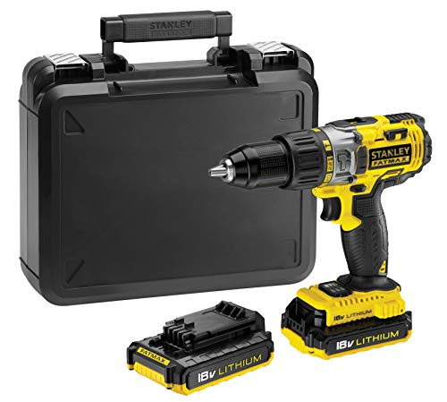 STANLEY FMC625D2-QW - Taladro percutor 18V 2.0Ah. 2 velocidades mecánicas. Reversible y...
