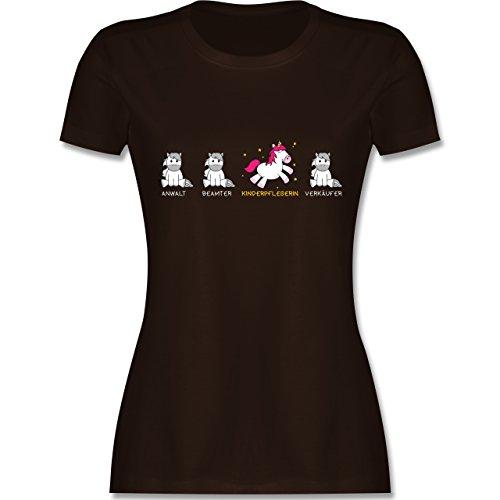 Shirtracer Sonstige Berufe - Kinderpflegerin Einhorn - Damen T-Shirt Rundhals Braun