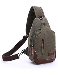 Outreo Bolso Bandolera Hombre Casual Chest Bag Vintage Pecho Bolsos de tela Peque?as Bolsa Sport Originales Lona Bolsas de Viaje Colegio Outdoor Monta?a