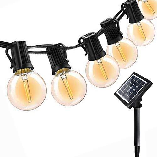 LED Energia Solare Catena Luminosa 18Ft Impermeabile IP45 G40 Illuminazione Solare Ricaricabile, Decorazione Luminosa, per Partito, all\'Aperto, al Coperto, Matrimonio