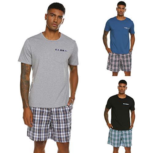 Herren Schlafanzug Pyjama Kurz Nachtwäsche 2-Teiler Shorty inkl. Hose Oberteile für Sommer Sauna (Grau Größe: L) -