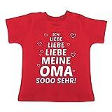 Sprüche Baby - Ich Liebe Meine Oma so sehr - 6-12 Monate - Rot - BZ02 - Baby T-Shirt Kurzarm