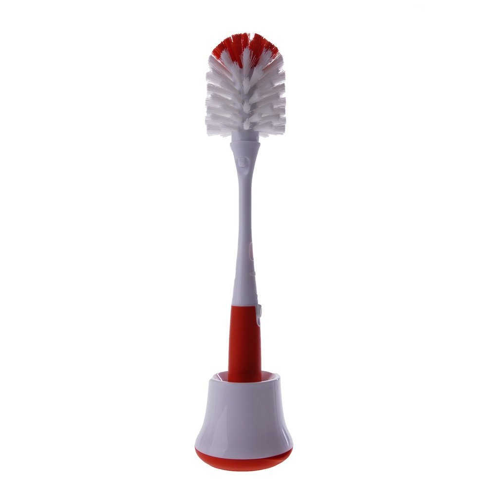 Oxo Tot Bottle Brush With Nipple Cleaner And Stand, Orange By Oxo