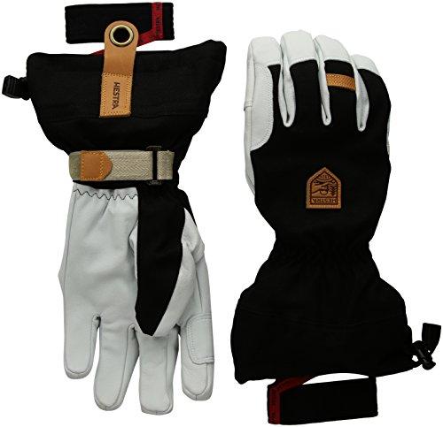 Hestra Skihandschuhe: Armee Leder Patrol Winterhandschuhe mit herausnehmbarem Futter, Unisex, schwarz, 10