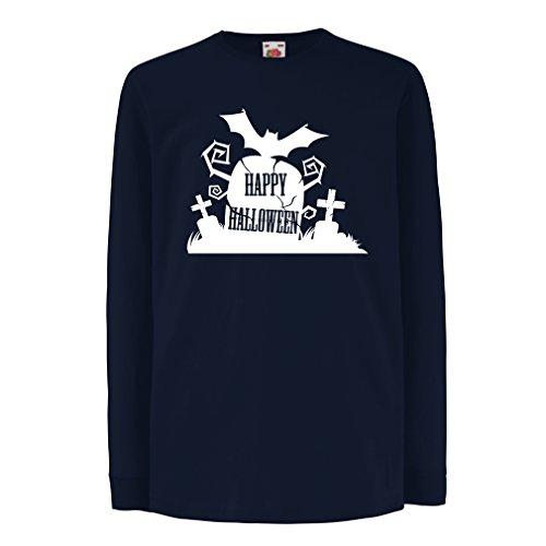 irt mit Langen Ärmeln Halloween-Friedhof - Kostüm-Ideen - Coole Kleidung Horror-Design - All Hallows 'Abend (14-15 years Blau Mehrfarben) (Vater Und Sohn Kostüme Ideen)