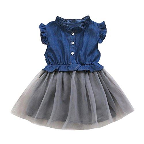 y Mädchen Denim Kleid Sleeveless Prinzessin Tutu Kleid Cowboy Kleidung (Cowboy-geburtstags-party-ideen)