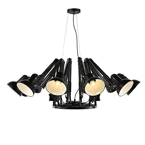 homker Kronleuchter zeitgenössische Moderne geführte Lampe des warmen weißen Lichtes 5W × 6/9/12/16, Farbe 4 Größe 2,Schwarz-6 Lichter -