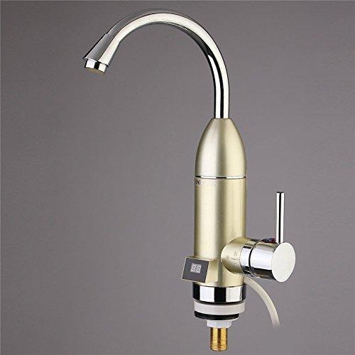tougmoo 1pc Instant Tankless rubinetto elettrico veloce riscaldamento Hot Water Heater rubinetto LED temperatura display (Heater Hose Valve)