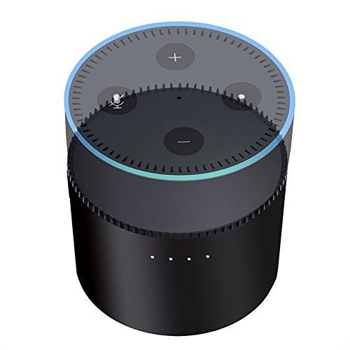 TechCode Echo Batteriebasis, Portable Batteriebasis für Amazon Echo dot 2 Intelligent 10000mAh Batterieladestation Cradle Echo Lautsprecherständer USB Ausgang, 5V-2A Unterstützung Zwei Wege Schnellladung (CX015-Schwarz) (Wifi-basis)