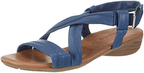 Tamaris Damen 28130 Offene Sandalen mit Keilabsatz, Blau (Denim 802), 37 EU (Sandalen Blau Denim Leder)