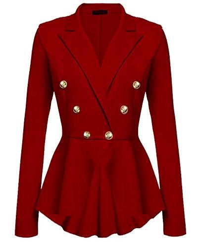 Blazer Jacke Elegant Freizeit Schlank Business Lange Hülse Büro Jacken Knopf Anzug Damen Rot - Dompteur Kostüm