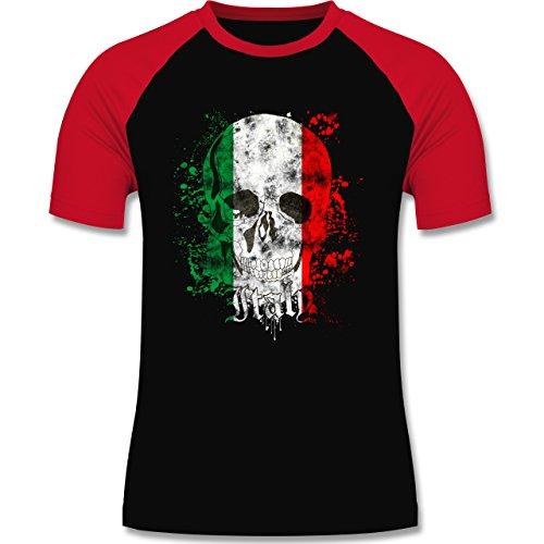 EM 2016 - Frankreich - Italy Schädel Vintage - zweifarbiges Baseballshirt für Männer Schwarz/Rot
