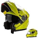CRUIZER-casco Modular homologado para moto Amarillo Alta visibilidad con Doble visera, Interior extraíble y lavable L Alta Visibilità