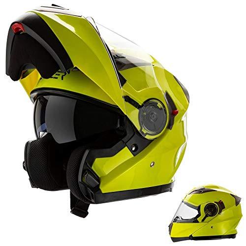 CRUIZER - Casco modulare omologato per moto giallo alta visibilità con doppia visiera, interno sfoderabile e lavabile (L)