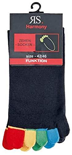 RS 5 Zehensocken,1 Paar,schwarz bunte Zehen 36/41