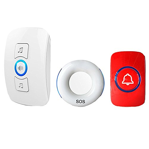 Ältere Pager Smart Fernbedienung Home Intercom Medical Portable Lanyard Wireless Pager Alarm Klingeln Notruf Pager,White1Button+1Host+RedBedsideButton