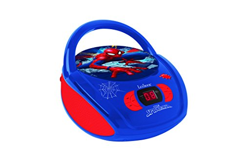 Lexibook rcd108sp - lettore radio cd spider-man, radio fm, corrente o batterie, presa cuffie, ingresso line-in, blu/rosso