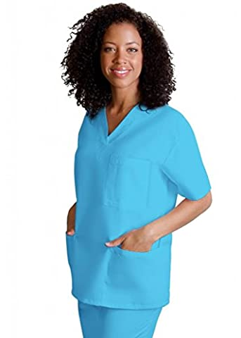 Adar Medical Unisex V-Neck Tunic 3 Pocket Scrub Top - 601 - Turquoise - S
