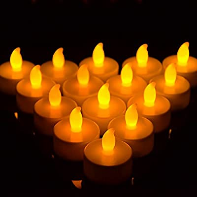 GPCT [Set of 24] Flickering [Flameless] Cordless LED Tealight Candles. Great for Wedding, Marriage, Birthday Parties, Bathoom, Bedroom, Kitchen, Festivals, Christmas Decorations (Warm Amber) by GPCT