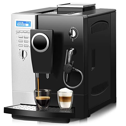 DREAMADE Kaffeevollautomat Edelstahl, Kaffeemaschine mit Milchaufschäumer System/ 2 L Wassertank/Kaffeebohnen und Kaffeepulver/ 1200W/ 2-Tassen-Funktion/silber, schwarz/zweisprachige Anzeige
