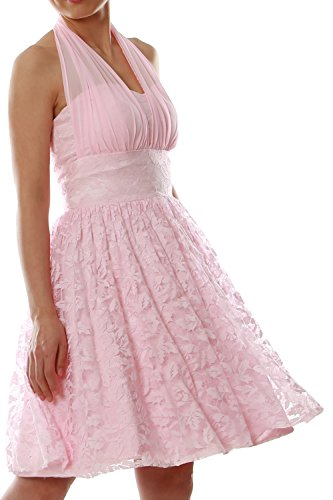 MACloth Women Halter Lace Short Bridesmaid Dress Wedding Party Cocktail Gown Fuchsia