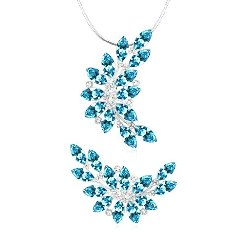 Aooaz Femmes Alliage Bijoux Parures Feuille Branche Cristal Broche Pendentif Collier Engagement Partie Bleu Marine