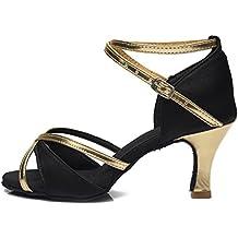 YKXLM Mujeres&Niña Zapatos Latinos de Baile Zapatillas de Baile de Salón Salsa Tango Performance Calzado de Danza,Modelo ES805