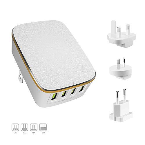 Alitoo USB Ladegerät, Stecker Wandladegerät Internationale Wand Ladegeräte 4-Port Reise Universal Ladeadapter für iPhone iPad Samsung Smartphone Tablets MP3(Weiß)