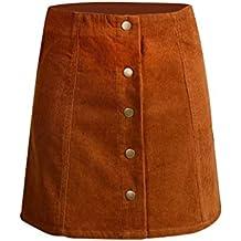 db25267d498b4 ROPALIA Femmes Vintage A-Line Haut De Taille Bouton Avant Mini Jupe
