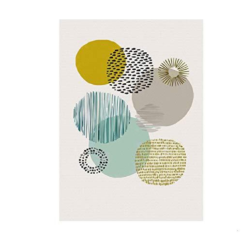 XWArtpic Abstrakte Geometrische Skandinavien Leinwand Malerei Nordic Interior Poster und Druck POP Wandkunst Bilder für Wohnzimmer Wohnkultur 50 * 70 cm