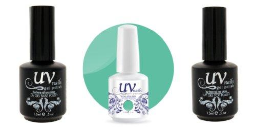 UV-Nails Vernis a Ongles Soak-Off Gel 15ml Envy Me #216 + Base & Top Coat 15ml + Aviva Polissoir a ongles