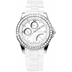 Stella Maris STM15N1 - Montre Femme Cadran blanc Quartz Analogique Bracelet Céramique blanc avec diamants et éléments Swarovski