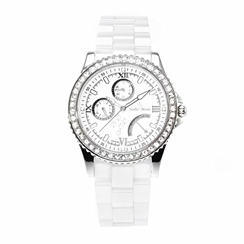 Stella Maris Damen-Armbanduhr Analog Quarz Premium Keramik Diamanten - STM15N1