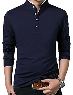 [Patrocinado]Summer Mae Camiseta Mangas Largas Algodón Deporte Oficina Botón Cuello V Pico para Hombre