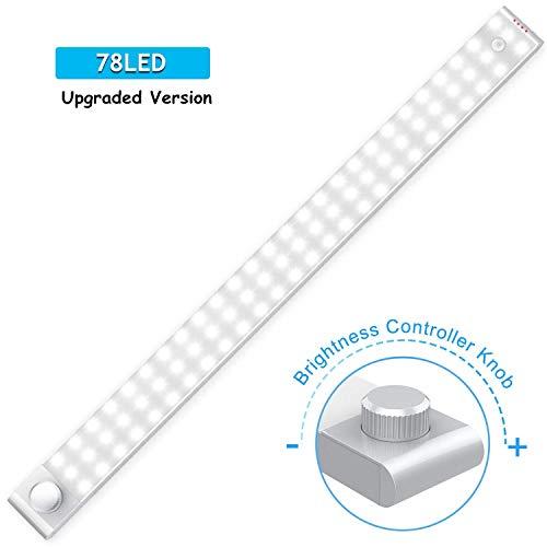 Schrankbeleuchtung mit Bewegungsmelder, Cshidworld 78 LED Sensor Licht Einstellbar SchrankLicht Kuechenbeleuchtung Kabelloses Kabinett Nachtlicht Lichtleisten Spiegelschrank fuer Flur (2 Sensormodus)