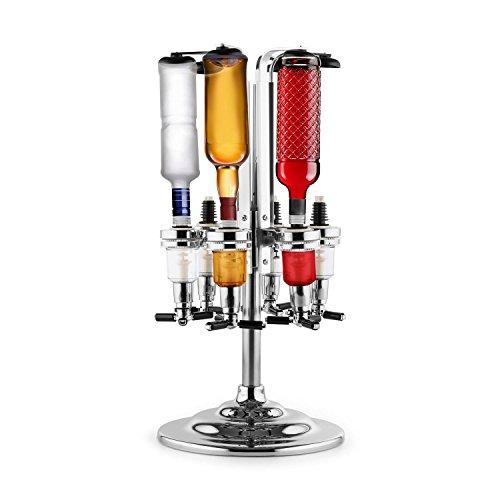 oneConcept Hazlehov Rondel 6 Getränkespender Bar-Butler Zapfanlage Dosierer 6-fach Standaufstellung (Flaschen mit 0,7 bis 1 Liter, Drehbare Konstruktion, verchromte Standfläche) Silber