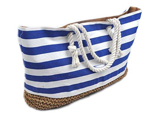 "La Loria Damen Strandtasche ""Cord"" gestreift in Blau-Weiß, 46×36×20 cm"