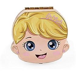 Nikgic 1pc Caja de dientes de bebé creativo Caja de dientes de madera Versión en Inglés de la caja de dientes de madera de Impresión en color (Chica)