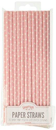 Ginger Ray polka dot carta del partito / cerimonia nuziale paglie di colore rosa di bambino