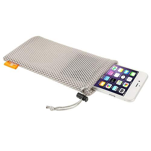 Universal Handytasche Nylon Mesh strapazierfähiges und Robustes Netz 18,5cm x 9cm Beutel mit elastischem Gummizug und Lanyard Kordel Pouch für jedes Smartphone/Handy / iPhone Schutzhülle Grau -