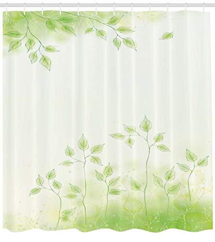 ABAKUHAUS Wald Duschvorhang, Frische Blätter Botanic Eco, Pflegeleichter Stoff mit 12 Haken Wasserdicht Farbfest Bakterie Resistent, 175 x 220 cm, Weiche grüne -