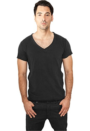 TB813 Fitted Peached Open Edge V-Neck Tee T-Shirt mit V-Ausschnitt Burgundy