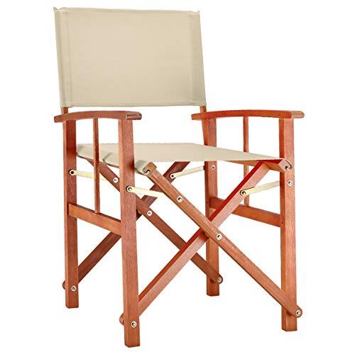 Deuba® Gartenstuhl Cannes | FSC®-zertifiziertes Eukalyptusholz faltbar | Klappstuhl Holz Stuhl Regiestuhl Beige
