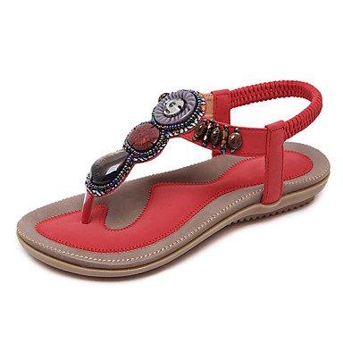 LvYuan Damen-Sandalen-Kleid Lässig Party & Festivität-PU-Flacher Absatz-Andere-Schwarz Rosa Rot Mandelfarben Pink