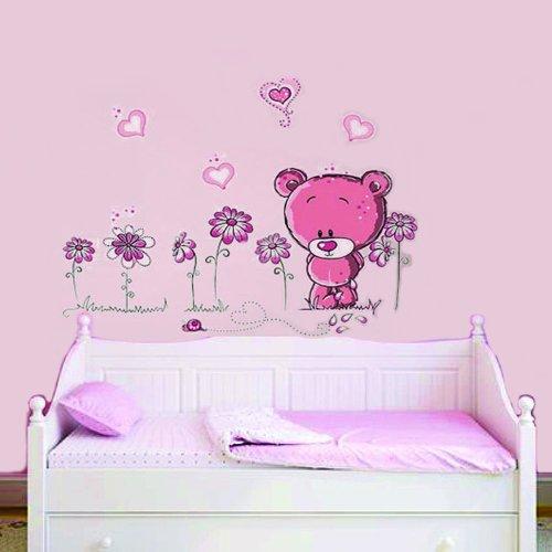 Pink Teddy Bear Walplus Bär und Blumen-Wand-Aufkleber, Rosa
