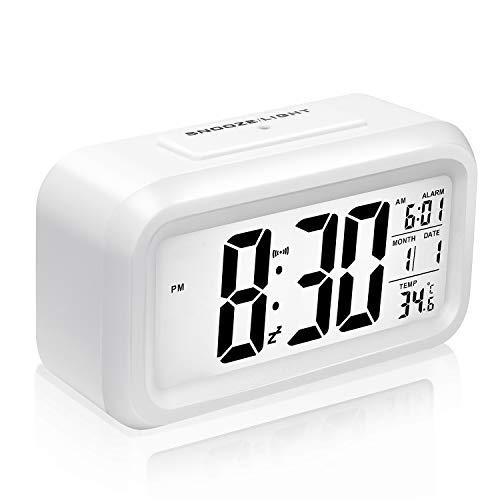 Mogomiten Sveglia Digitale LCD Comodino Orologio Snooze Sveglia per Bambini Sveglia di Allarme, Smart Notte Retroilluminazione, Calendario, Tempo, Date, Temperatura, Batteria funzionato