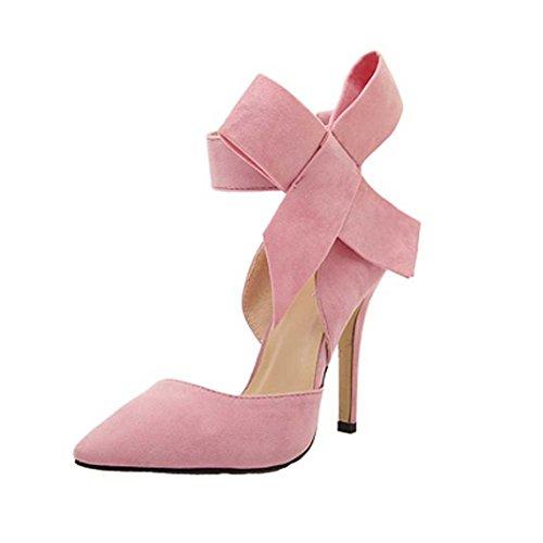 UFACE GroßE High Heels Schuhe Aus Wildleder Mit Wildlederimitat Frauen Pumps Einem GroßEn Bogen Fliege Scharfen Zehe Stilettos Plus Size (40, Rosa)