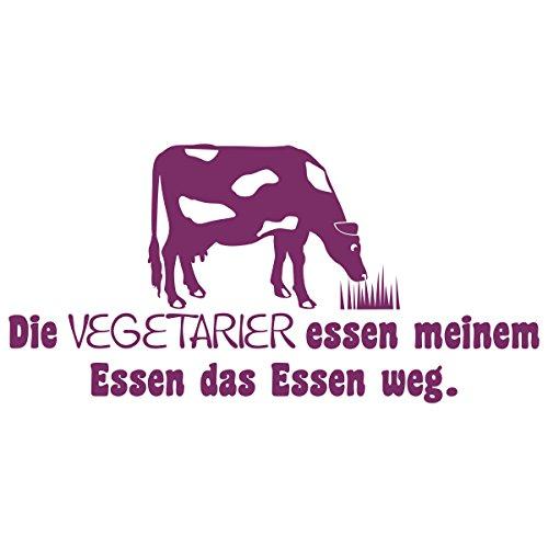 WANDKINGS Wandtattoo – Die Vegetarier essen meinem Essen das Essen weg (mit Kuh Silhouette) – Wähle aus 5 Größen & 35 Farben
